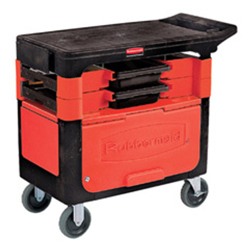 Rubbermaid 618088bla trades cart with locking cabinet 19x38