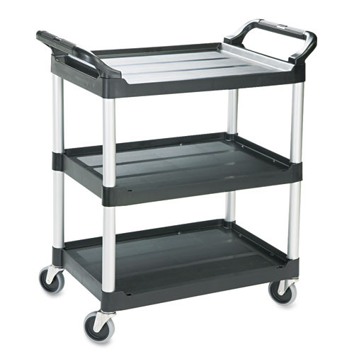 Rubbermaid 342488bla utility cart 3 shelf black plastic