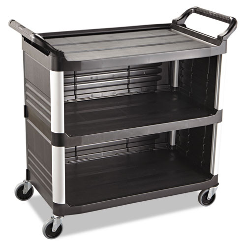 Rubbermaid 4093bla utility cart 3 sides black plastic
