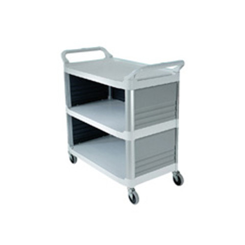Rubbermaid 4093cre utility cart 3 sides off white