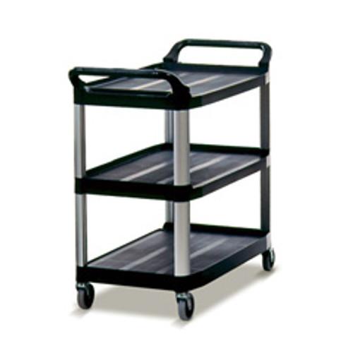 Rubbermaid 4091bla utility cart 3 shelf black plastic