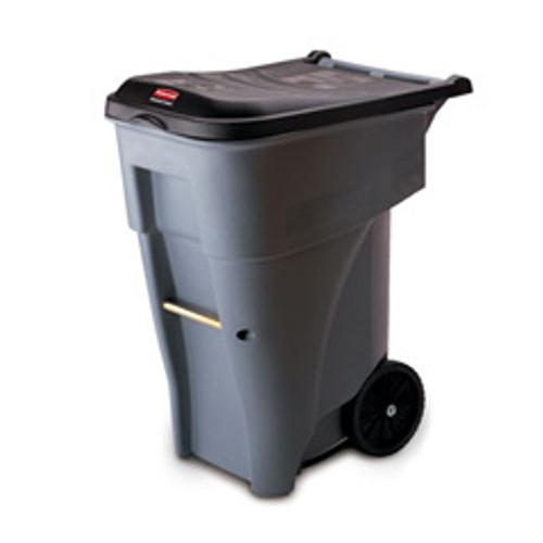 Rubbermaid 9w21gra trash can with wheels 65 gallon