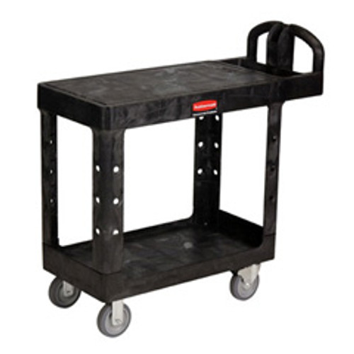 Rubbermaid 4525bla heavy duty utility cart flat shelf
