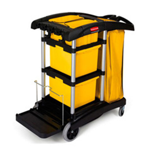 Rubbermaid 9t73 microfiber janitor cart cleaning cart with
