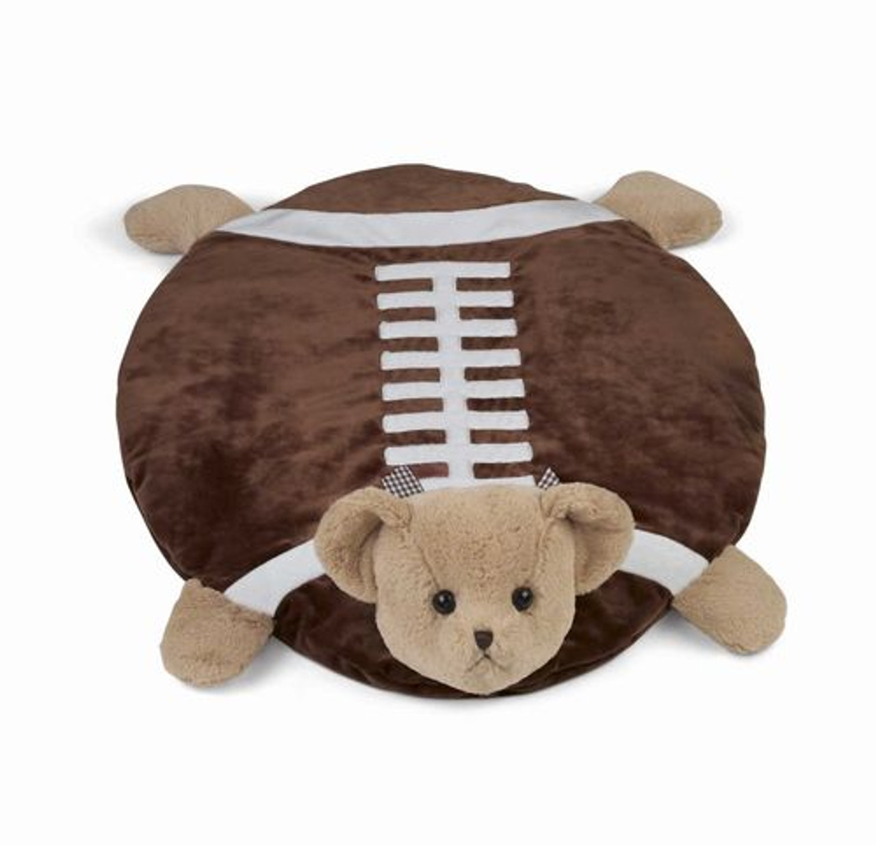 "Bearington Baby Tuchdown Football Teddy Bear Belly Blanket, Baby Mat, Tummy Time Mat 30"" x 30"""