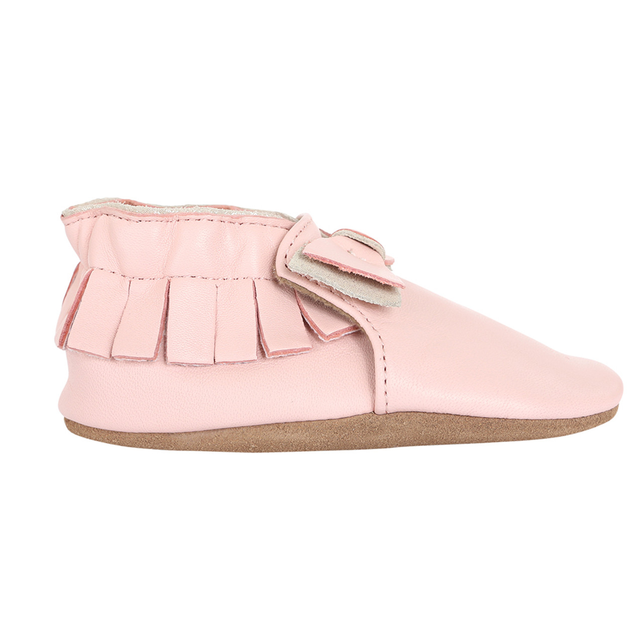 Robeez - Baby Girls' Leather Moccasin Maggie, Light Pink (12-18m)