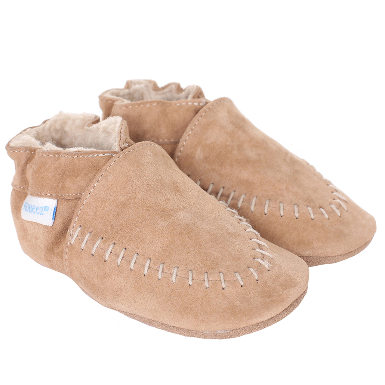 Robeez - Cozy Baby Moccasins Taupe, Soft Soles (6-12m)
