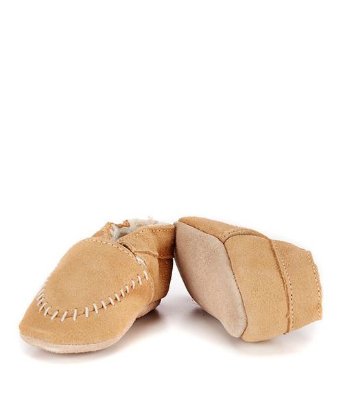 Robeez - Cozy Baby Moccasins Taupe, Soft Soles (12-18m)