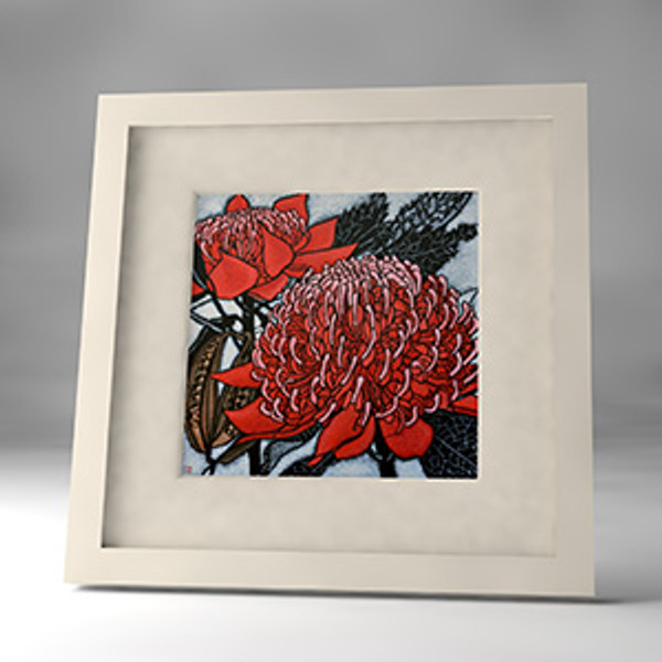 red waratah framed print