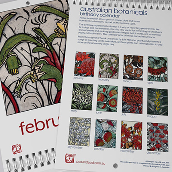 new calendar with new images of mottlecah, tree waratah, coast wattle and more