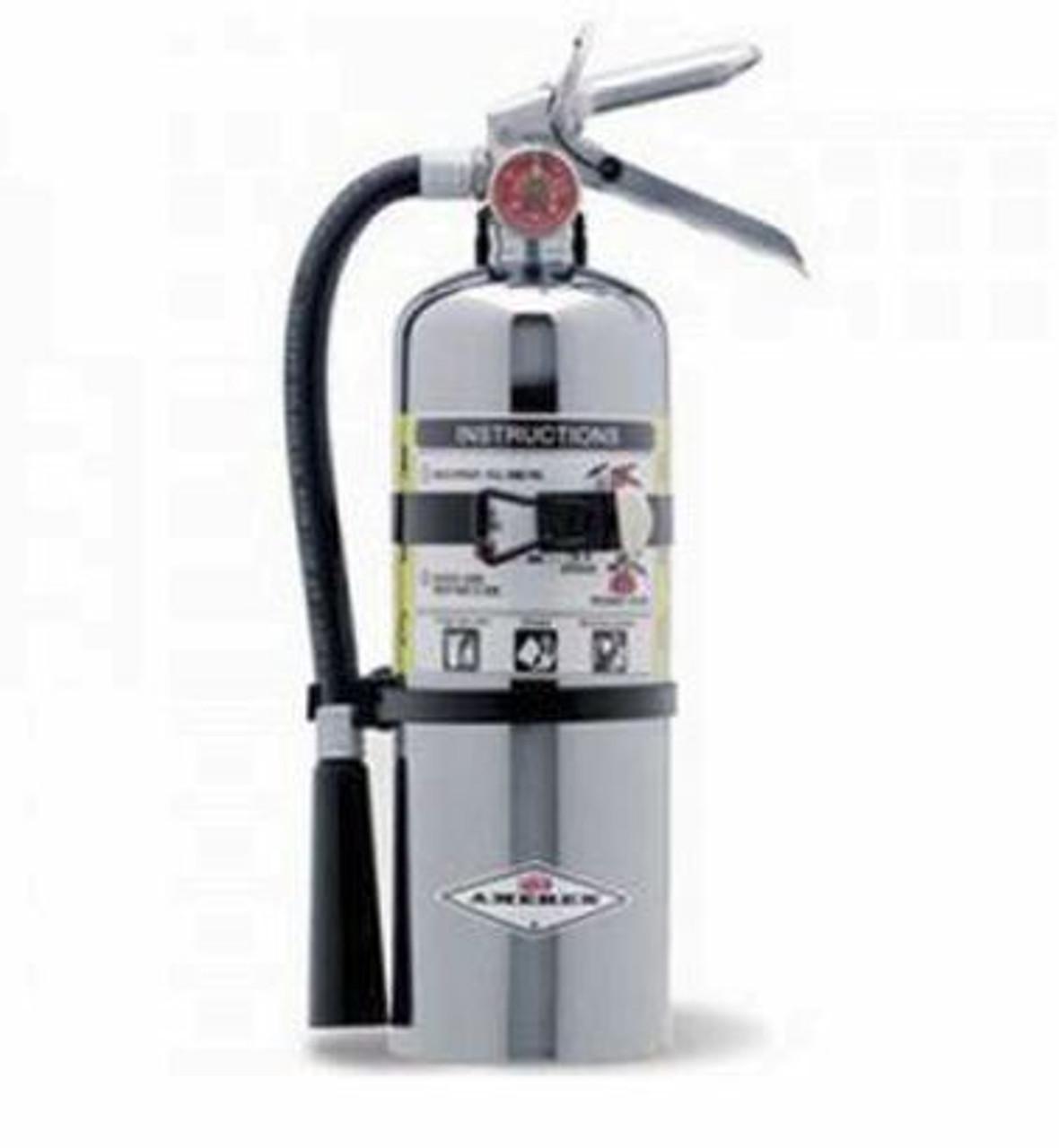 Amerex B500C - 5 lb Chrome ABC Fire Extinguisher (with wall bracket)