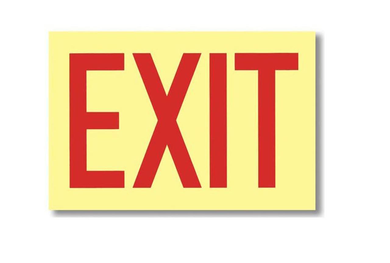"G112 - Vinyl Glow in the Dark Exit Sign 12"" x 8"""