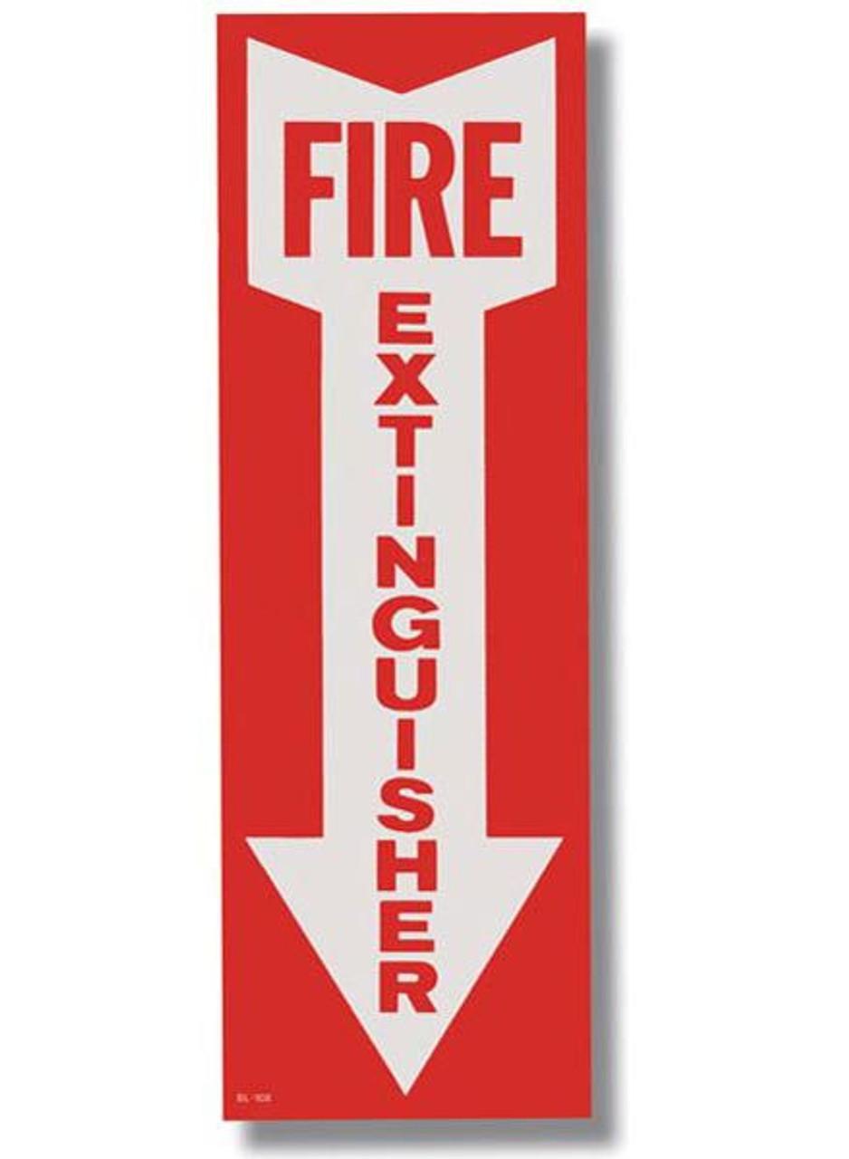 "BL108 - Self-adhesive Vinyl Fire Extinguisher Arrow 4"" x 12"""
