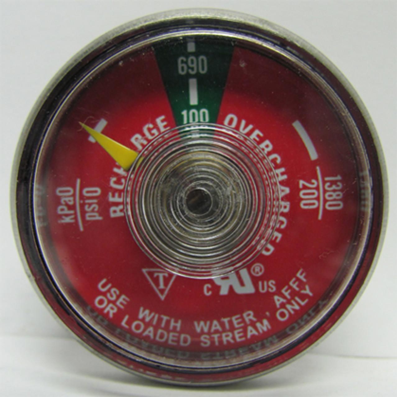 G100WS - 100 Psi Water Fire Extinguisher Gauge