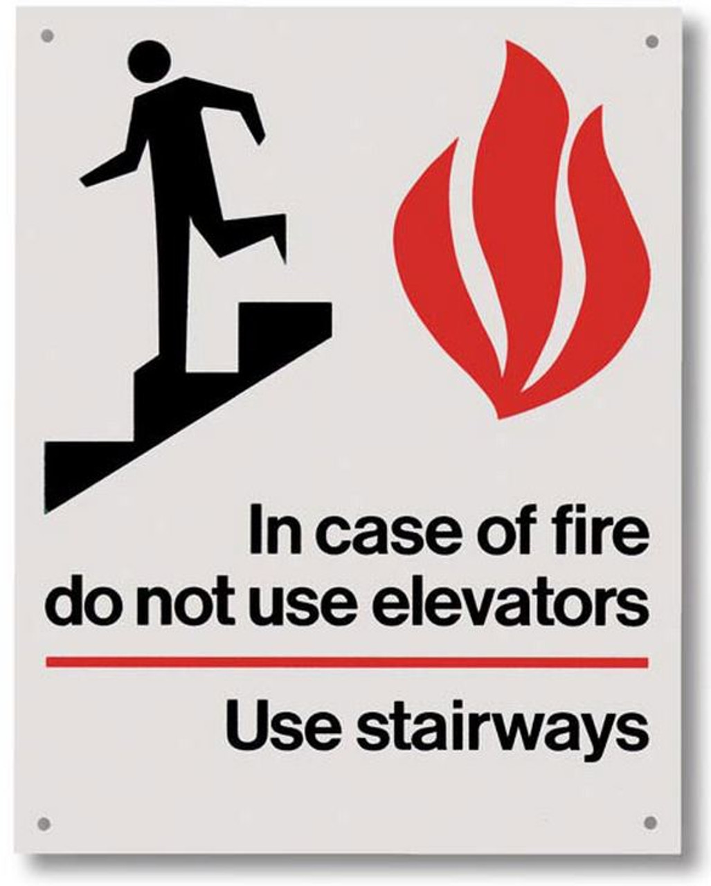 """RP117 Rigid Plastic In Case of Fire Signs 5.5"""" x 7"""""""