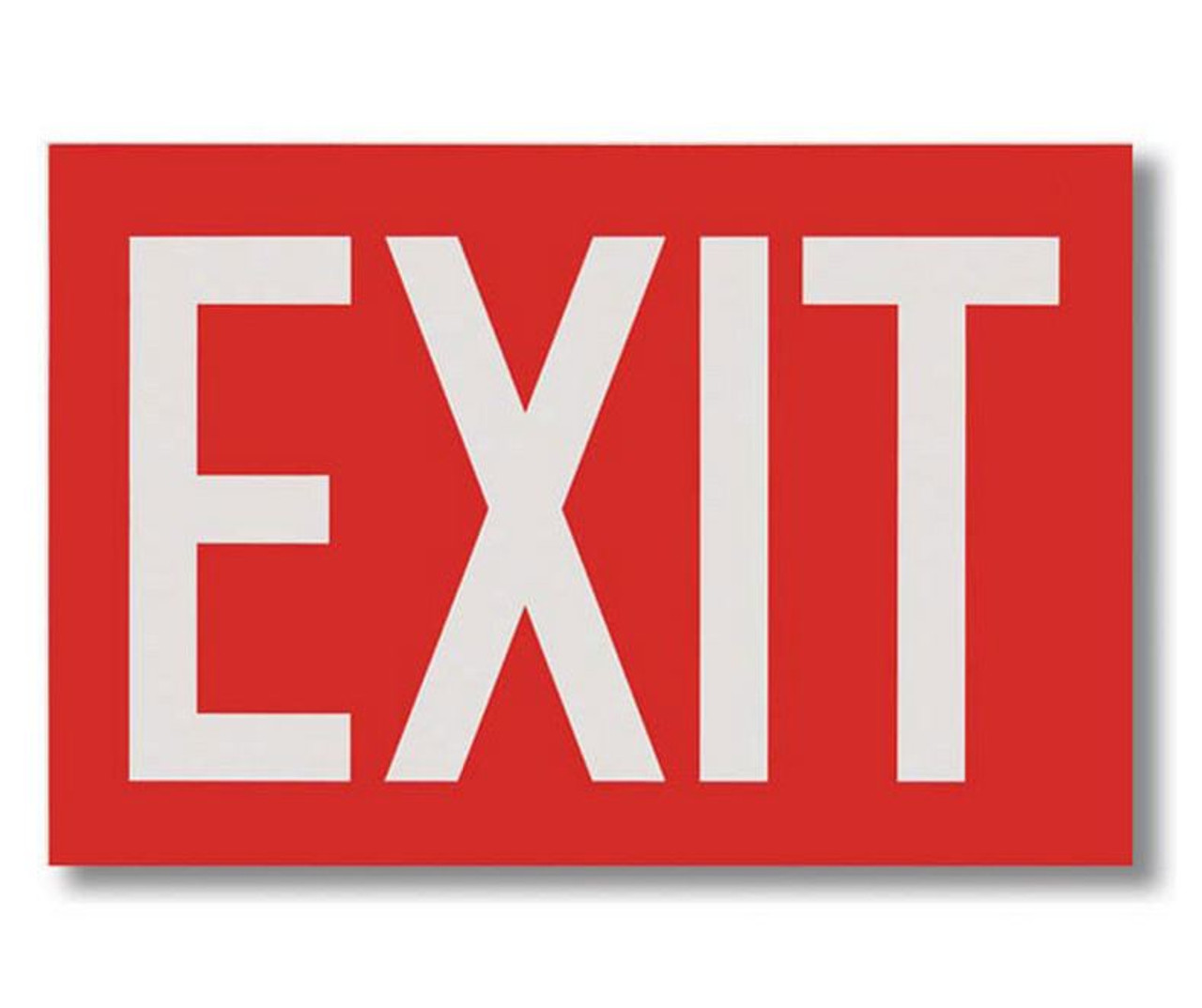 "BL112 Self-adhesive Vinyl Red Exit Sign 12"" x 8"""