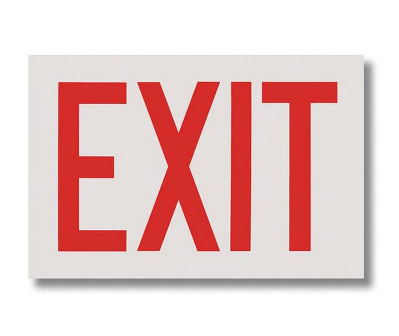 "BL112W Self-adhesive Vinyl White Exit Sign 12"" x 8"""