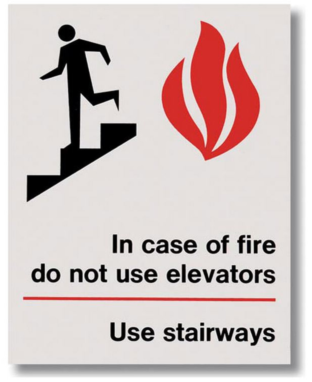 """BL117 Self-adhesive Vinyl In Case of Fire Sign 5.5"""" x 7"""""""