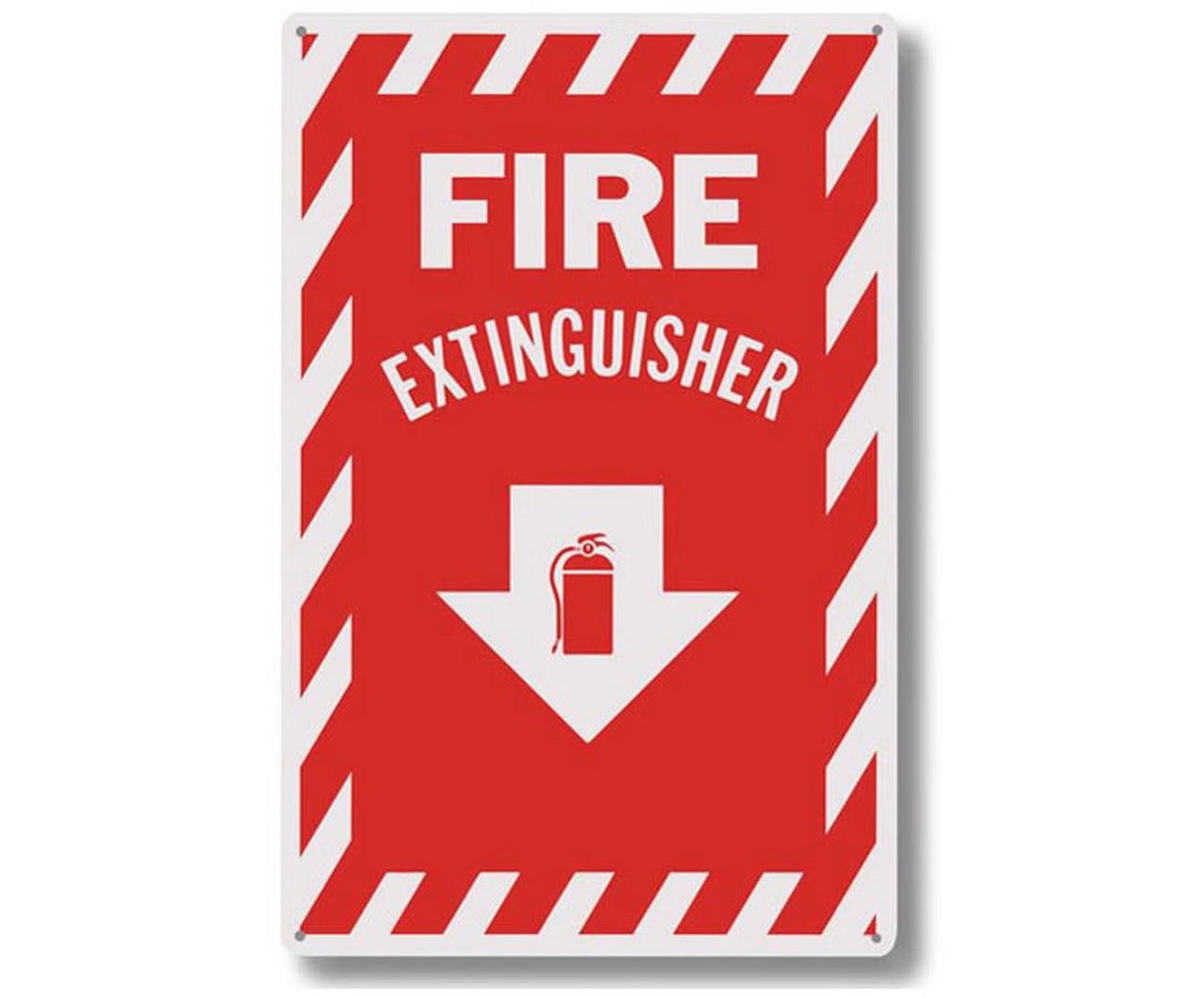 "A114 Aluminum Fire Extinguisher Sign 8"" x 12"""