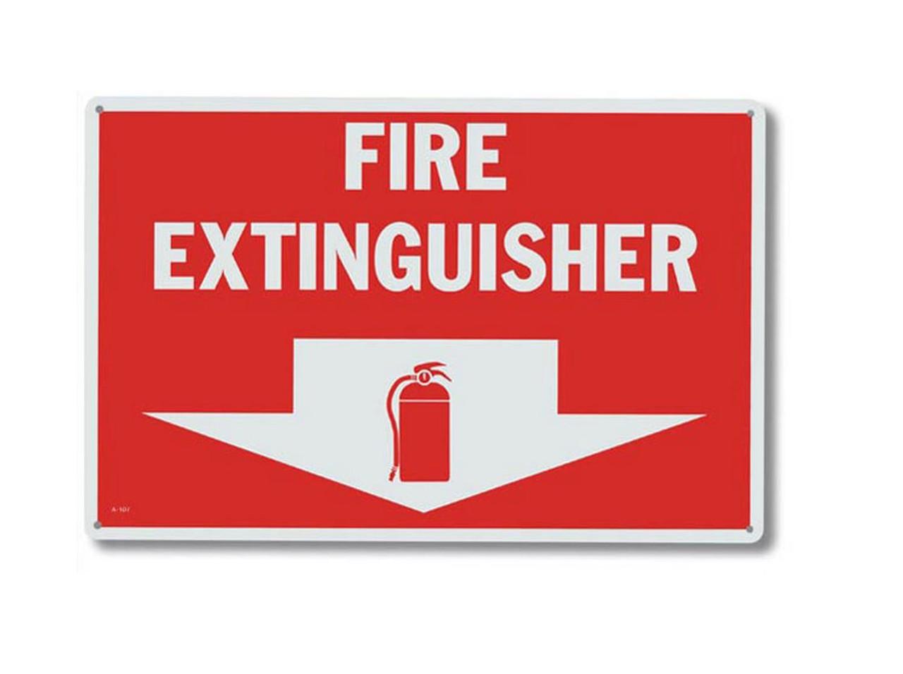"A107 Aluminum Fire Extinguisher Sign 12"" x 8"""