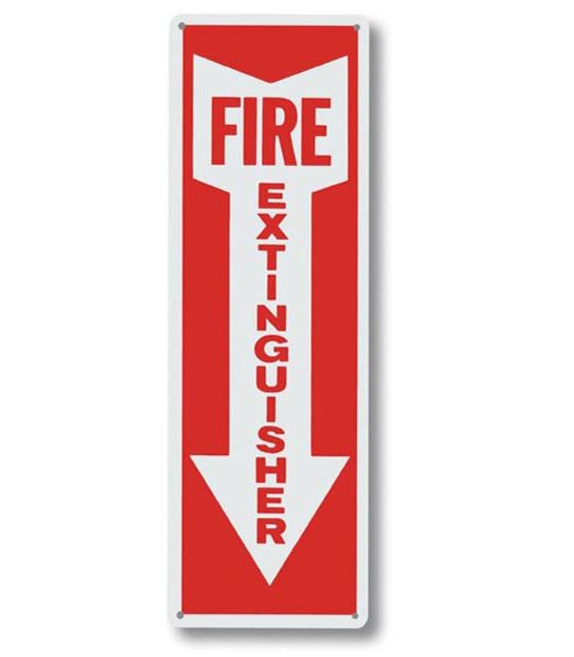 "A108 Aluminum Fire Extinguisher Sign 4"" x 12"""