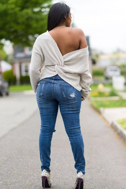 Open Back Sweater (Grey)