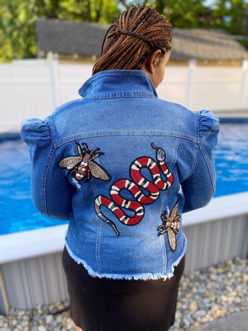 Gucci Inspired Sequin Denim Jacket