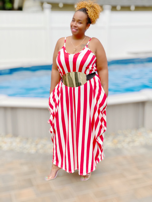 "Plus Size ""Stripe Me Down"" Maxi Dress (red & white)"