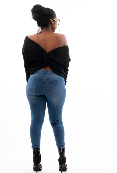Twist Tie Open Back Sweater (Black)