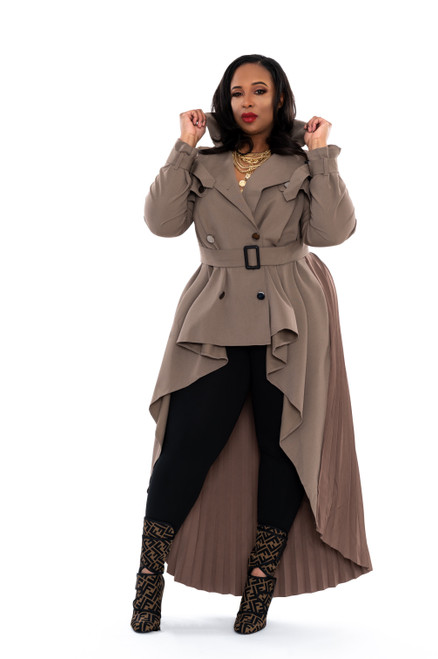 """Trench Coat Mafia"" Hi/Low Trench Coat (Camel)"