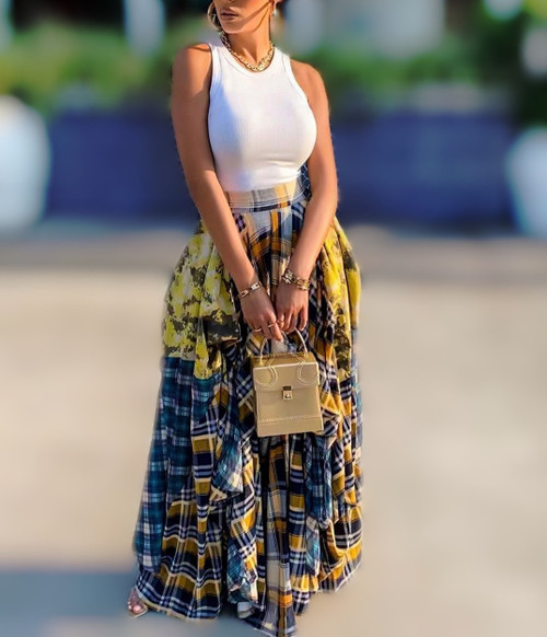 Plenty of Plaid Maxi Skirt (Yellow)