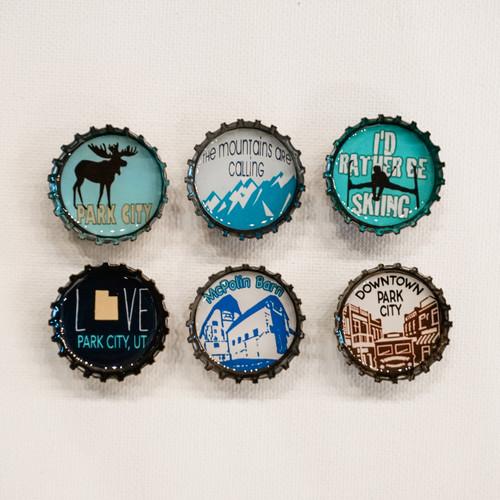 Park City Bottle Cap Magnets