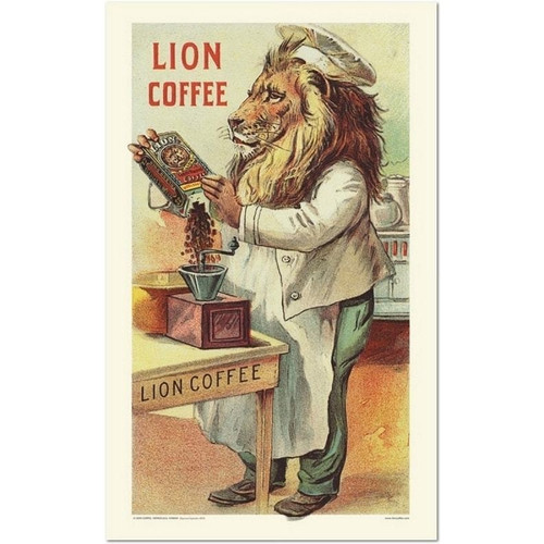 Lion Coffee Vintage Poster