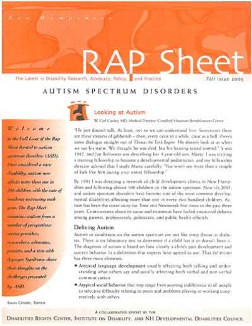 NH RAP Sheet Fall 2005: Autism Spectrum Disorders