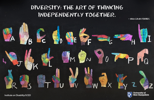 "poster of sign language alphabet with quote ""Diversity: the art of thinking independently together."""