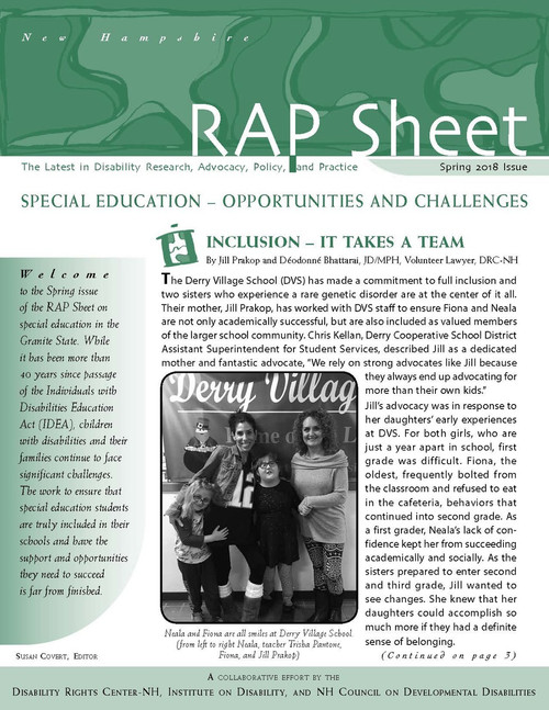 NH RAP Sheet Spring 2018: Special Education - Opportunities and Challenges
