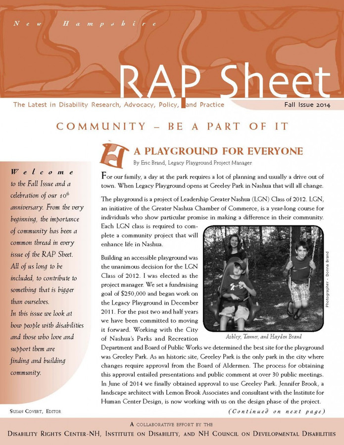 NH RAP Sheet Fall 2014: Community: Be A Part of It