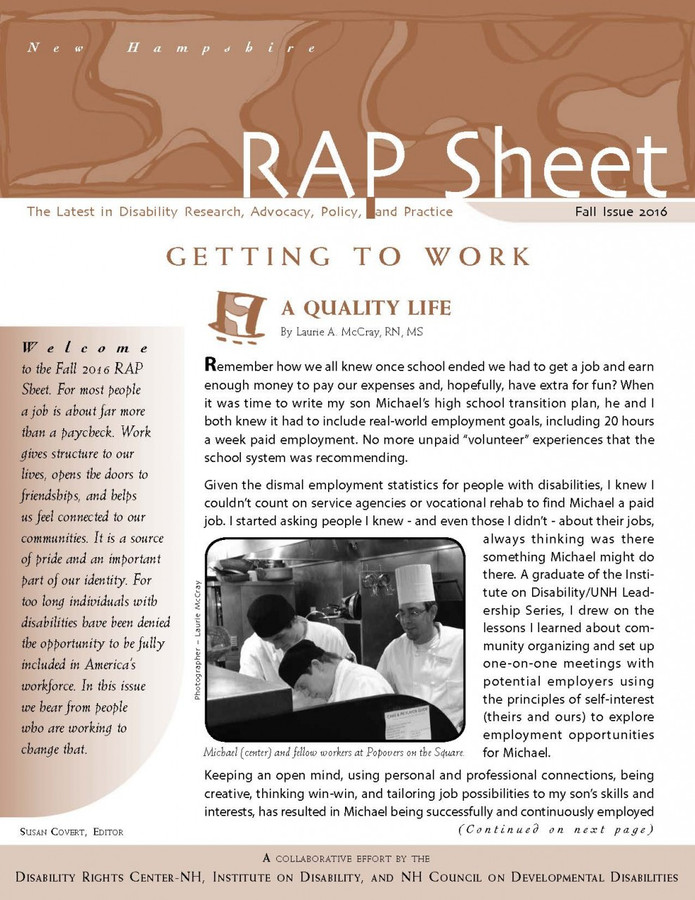 NH RAP Sheet Fall 2016: Getting to Work