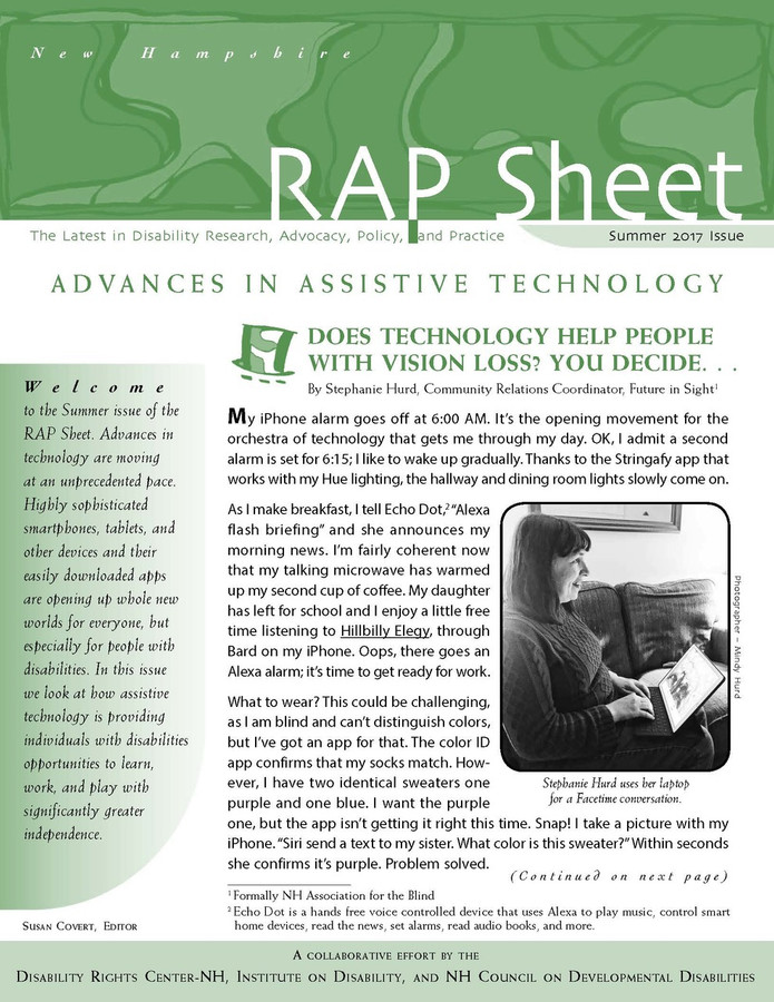 NH RAP Sheet Summer 2017: Advances in Assistive Technology
