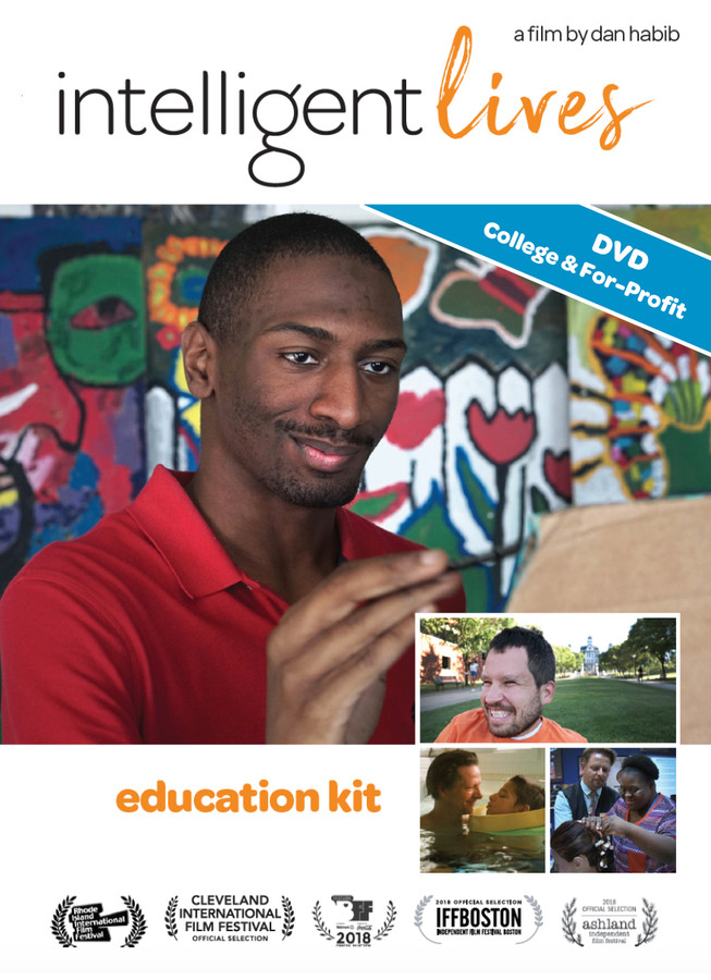 (DVD for College & For-Profit Organizations VERSION) Intelligent Lives cover images featuring Naieer, with smaller images of Micah, Naomi, and Chris Cooper with son Jesse