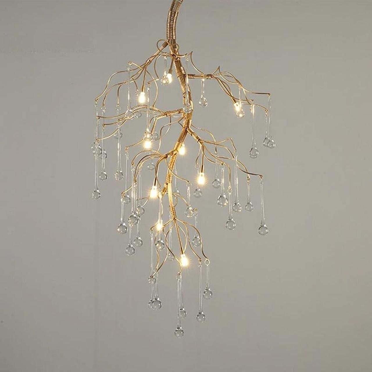 Aurora Vertical Crystal Branch Detail Gold Chandelier Jasboutique Co Uk