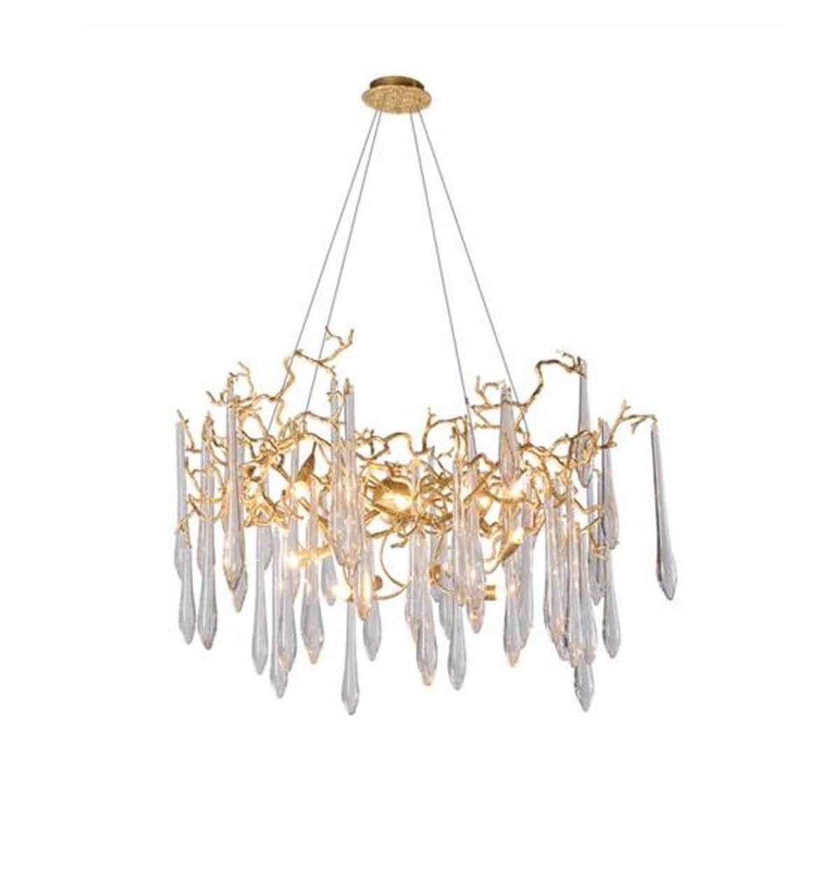 Adriena Crystal Gold Branch Detail Round Chandelier Jasboutique Co Uk