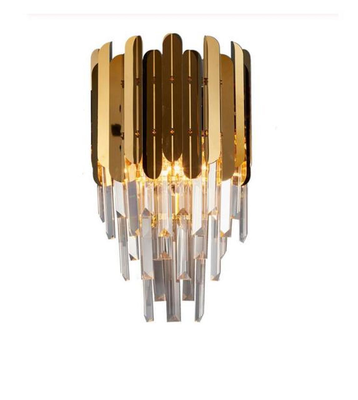 Zarita Gold Clear Crystal Wall Lamp Jasboutique Co Uk