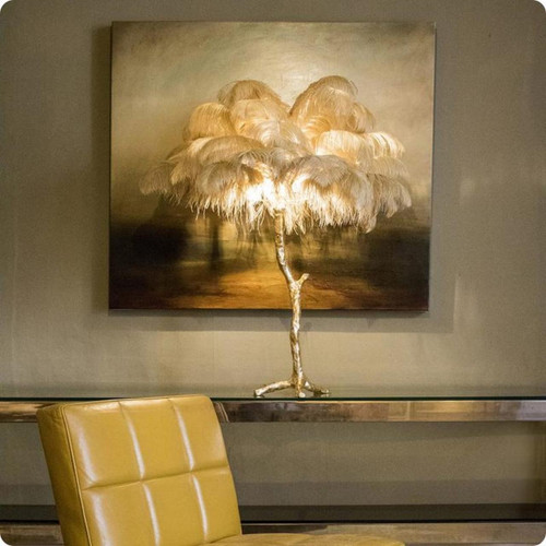 Alenah Ostrich Feather Palm Tree Table