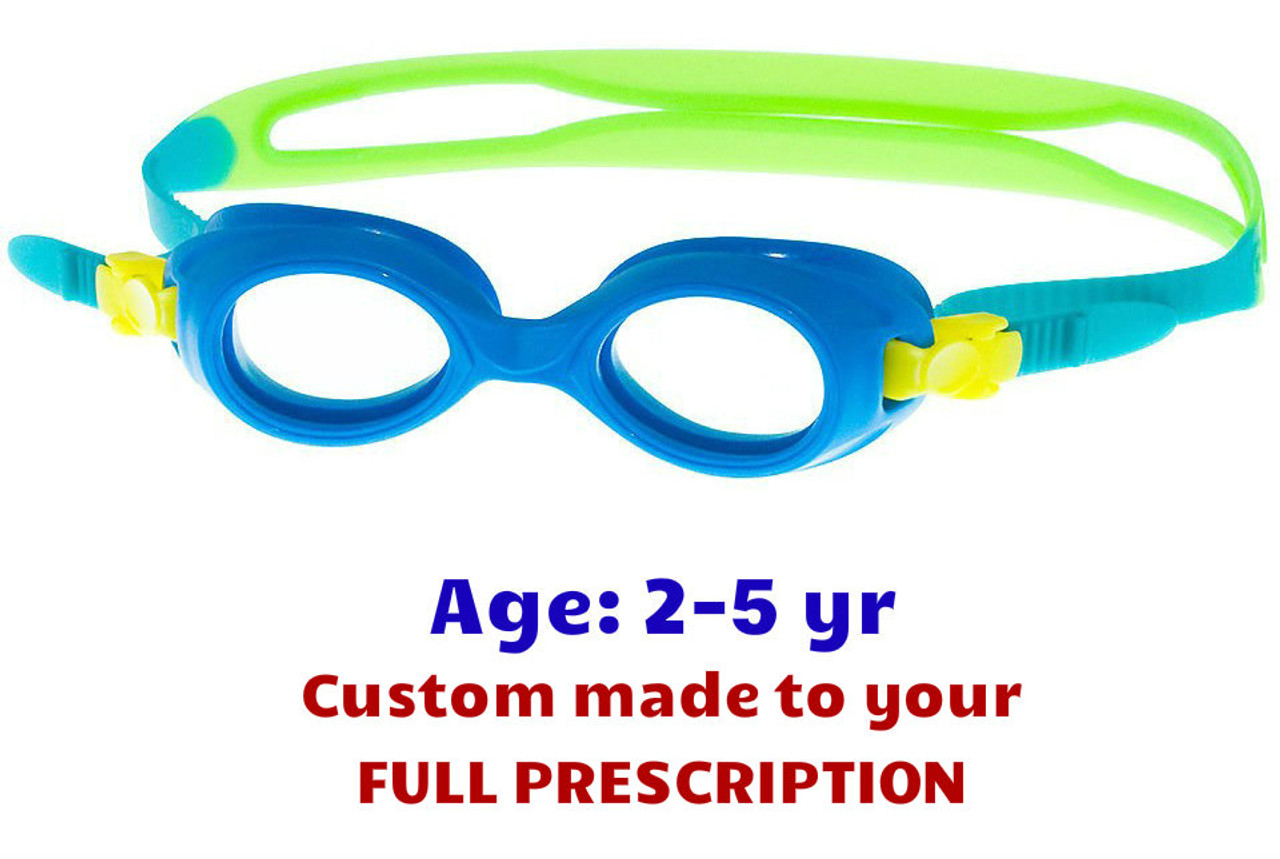 1c9bec0740 Custom made Blue S37 toddler prescription swim goggles for 2-5 years kids