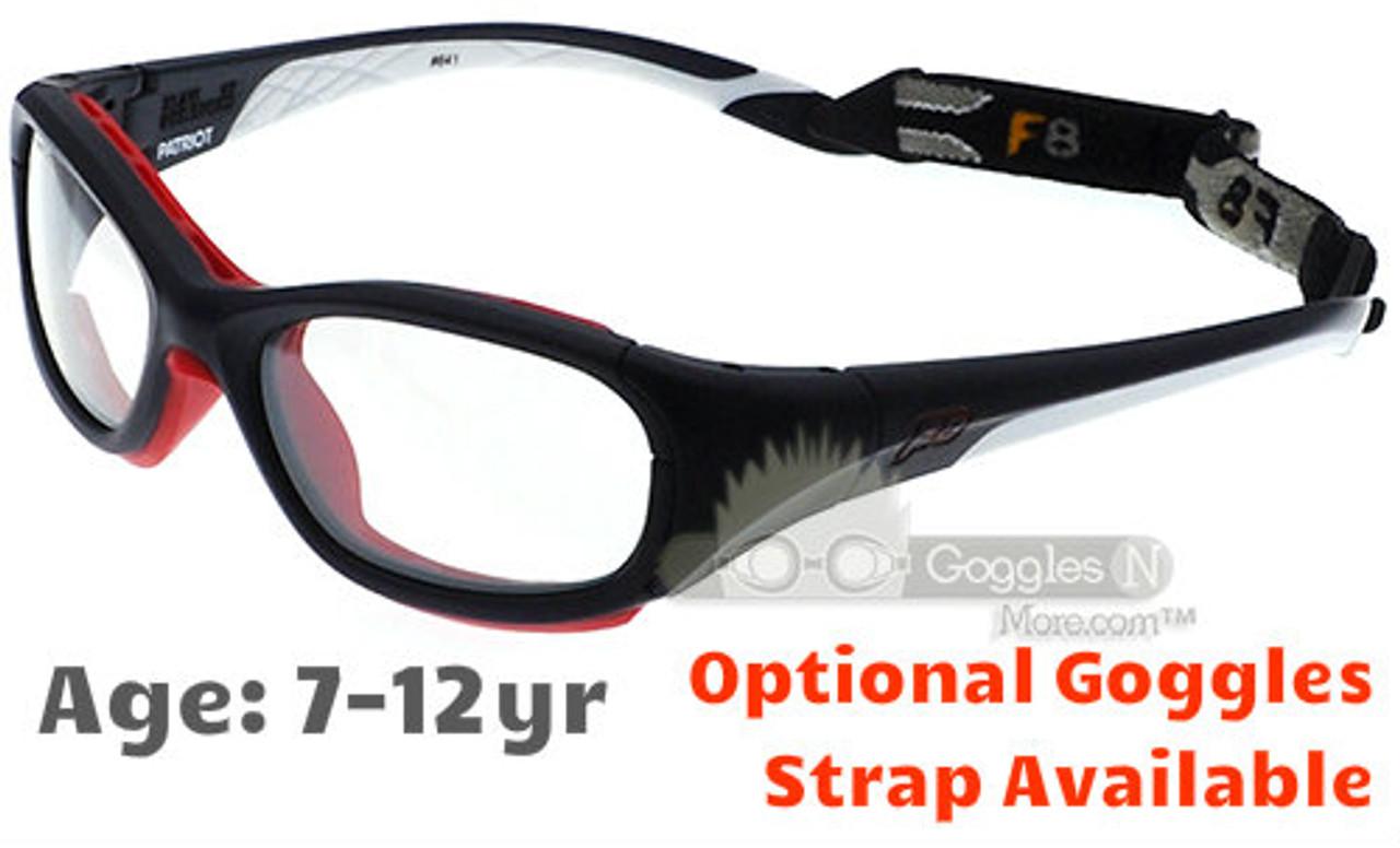 Rec Specs F8 Slam Patriot Kids Sports Goggles White +Rx Lenses - Goggles n  More