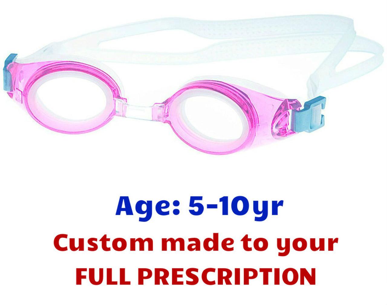 ea21414e503a Kids Prescripion Swim Goggles PE8 Pink with Custom Made Lenses ...