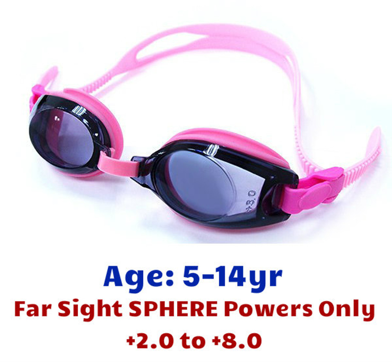 d018e2e2b7 Pink Kids Prescription Swim Goggles with Farsight Power Lenses (Dark Grey Tinted  Lenses)