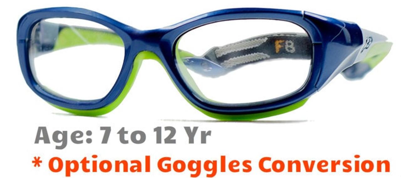 281b07a1532 Rec Specs F8 Slam Kids Prescription Sports Glasses in Shiny Navy Green