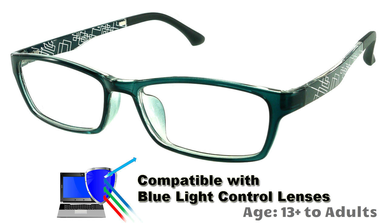 e5795bc659d Techno - Grey Glasses  Compatible with Optional Blue Light Control Lenses